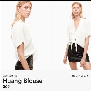ARITZIA WILFRED FREE TIE FRONT BLOUSE